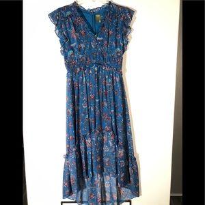 Taylor Blue Floral High-Low Ruffled Dress Sz 6